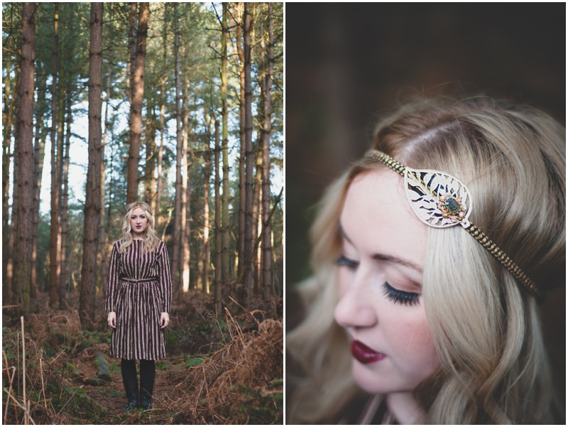 Vintage Fashion Photoshoot With Blue Flamingo In Delamere Forest