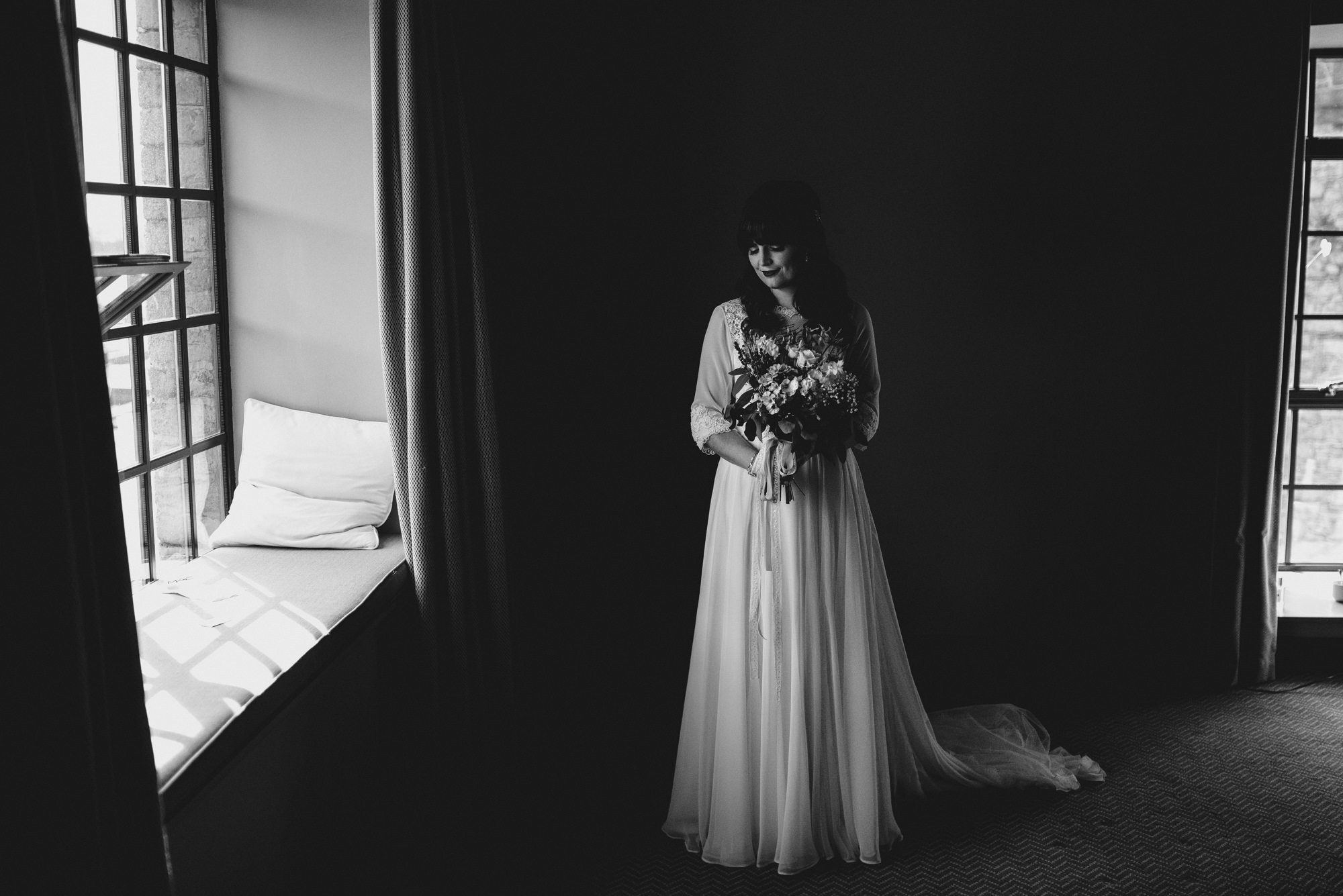 beautiful bride in black and white nice light