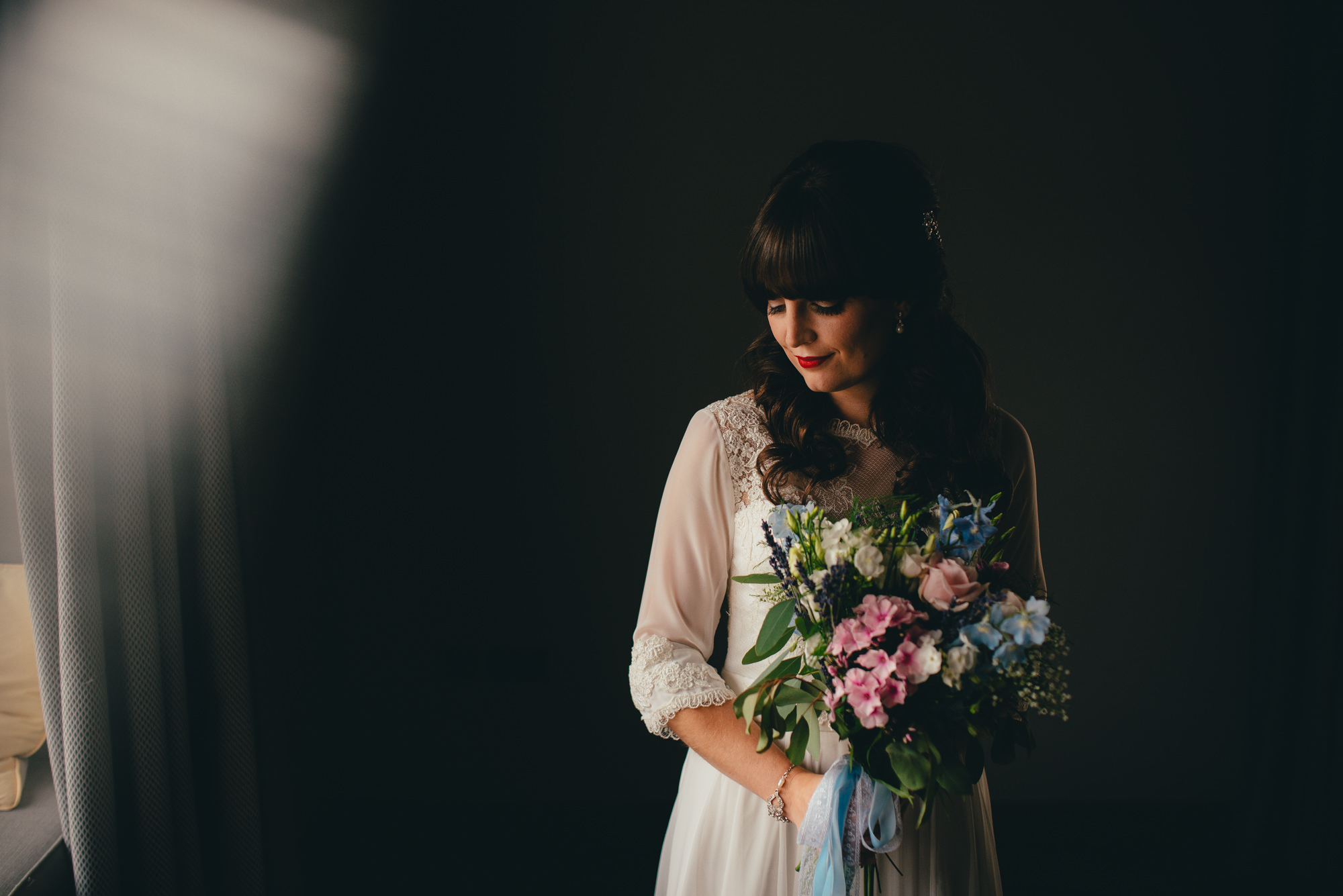 bride pretty light, lace boho dress, portrait