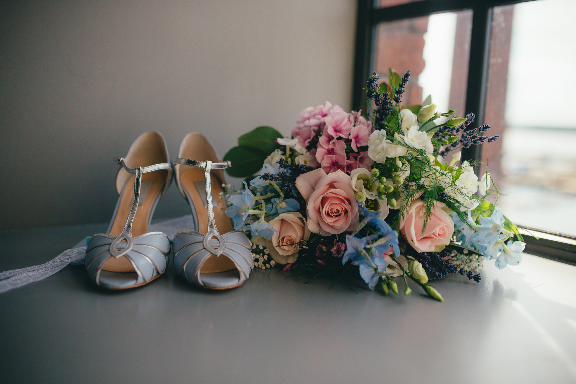 Rachel Simpson Shoes and rustic bouquet at wedding at Oh me oh my